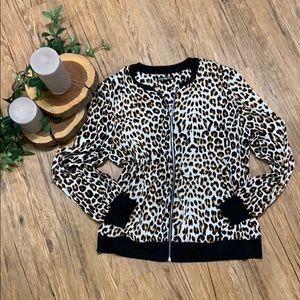 NWOT cheetah full zip jacket